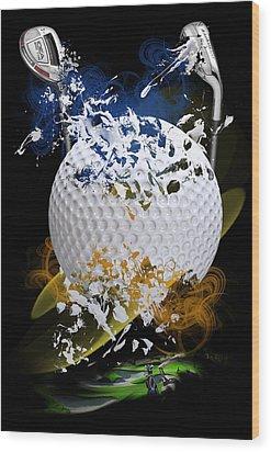 Golf Explosion Wood Print by Davina Washington