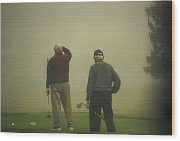 Golf In A Fog Wood Print