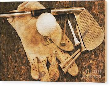 Golf Memorabilia Wood Print by Charline Xia