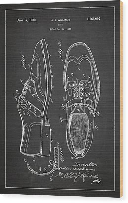 Golf Shoe Patent Drawing From 1927 Wood Print by Aged Pixel