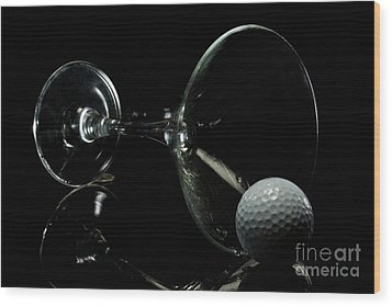 Golf Tini Golf Ball And Martini Glass Wood Print