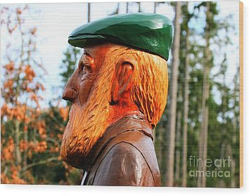 Golfer Profile Wood Print by Tap On Photo