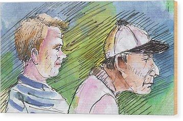 Golfers In Soufflenheim 01 Wood Print by Miki De Goodaboom