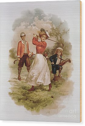 Golfing Wood Print by Ellen Hattie Clapsaddle
