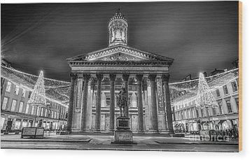 Goma Glasgow Lit Up Mono Wood Print by John Farnan
