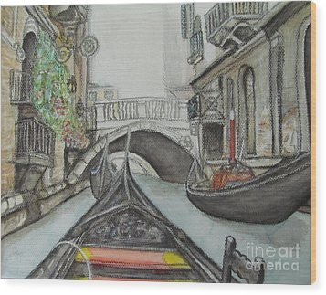 Wood Print featuring the painting Gondola Venice Italy by Malinda  Prudhomme