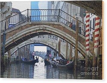 Gondolas And Bridges On Canal Wood Print by Sami Sarkis
