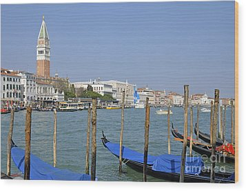 Gondolas At Pier By Grand Canal Wood Print by Sami Sarkis