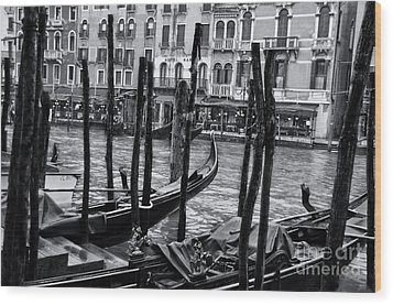 Gondolas In Venice 3 Wood Print by Design Remix