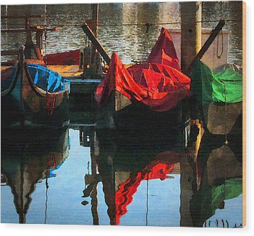 Gondolas Wood Print by Timothy Bulone