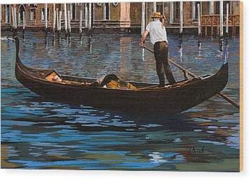 Gondoliere Sul Canale Wood Print by Guido Borelli