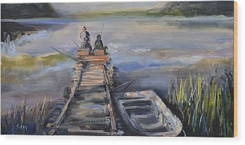 Gone Fishin' Wood Print by Donna Tuten