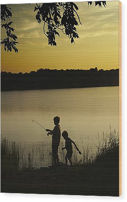 Gone Fishin' Wood Print by Mary Ely