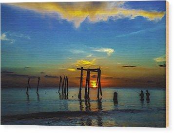 Gone Fishin Wood Print by Randy Sylvia