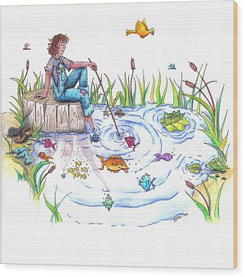 Gone Fishing Wood Print by Kelly Walston