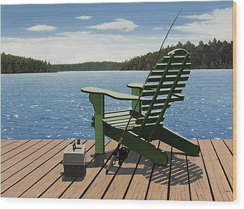 Gone Fishing Wood Print by Kenneth M  Kirsch