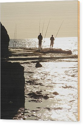 Gone Fishing Wood Print by Noreen HaCohen