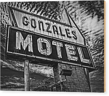 Wood Print featuring the photograph Gonzales Motel Sign by Andy Crawford