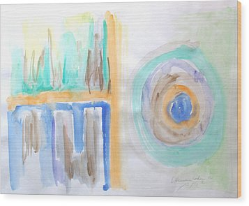 Wood Print featuring the painting Good Afternoon Abstract by Esther Newman-Cohen