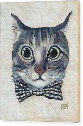 Good Boy Cat With A Checked Bowtie Wood Print by Jingfen Hwu