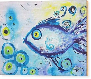Good Luck Fish Abstract Wood Print by Carlin Blahnik