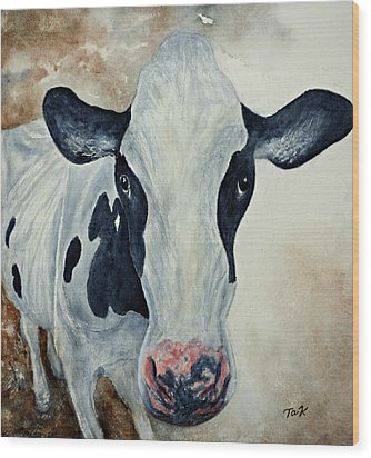Good Mooo To Youuu Wood Print by Thomas Kuchenbecker