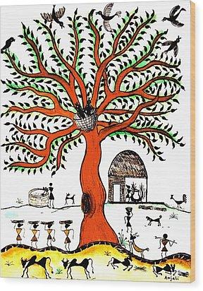 Good Morning Chirp Wood Print by Anjali Vaidya