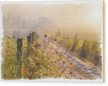 Good Morning Farm Wood Print by Debra and Dave Vanderlaan