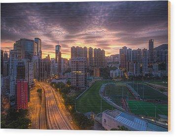 Good Morning Hong Kong Wood Print by Mike Lee