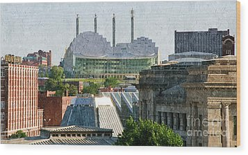 Good Morning Kansas City Skyline Painterly Wood Print by Andee Design