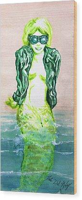 Good Morning Little Mermaid Wood Print by Del Gaizo