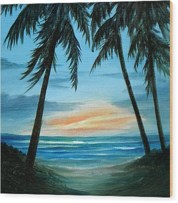Good Morning Sunshine - Seascape Sunrise And Palm Trees By Rosie Brown Wood Print by Rosie Brown