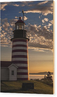 Good Morning West Quoddy Head Lighthouse Wood Print by Marty Saccone