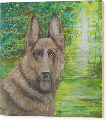 Wood Print featuring the painting Good Old Shep by Cathy Long