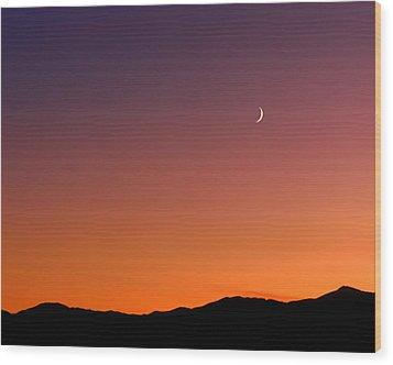 Goodnight Moon Wood Print by Rona Black