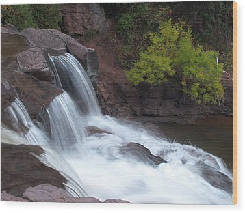 Wood Print featuring the photograph Gooseberry Falls In Slow Motion by James Peterson