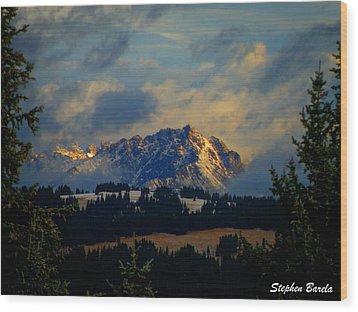 Gore Range Sunrise Wood Print by Stephen Barela