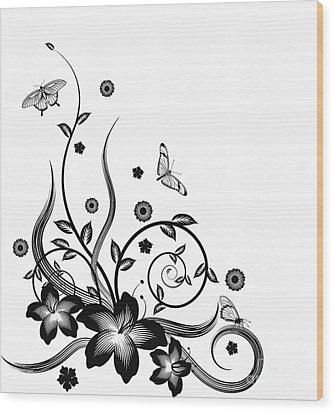 Gorgeous Black Corner Floral Design Wood Print by Christos Georghiou