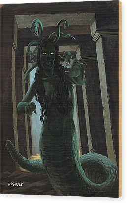 Gorgon Medusa Wood Print by Martin Davey