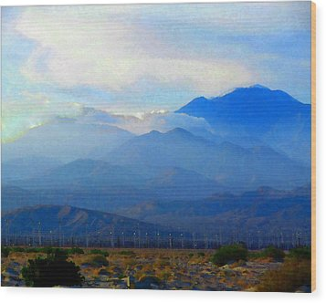 Gorgonio Pass And Mt. San Gorgonio Wood Print by Timothy Bulone