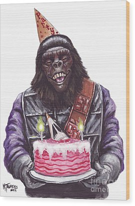 Gorilla Party Wood Print
