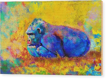 Wood Print featuring the painting Gorilla by Sean McDunn