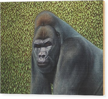 Gorilla With A Hedge Wood Print by James W Johnson