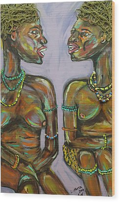 Wood Print featuring the painting Gossip by Lucy Matta
