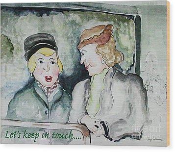 Gossip On The Bus Wood Print by Joyce Gebauer