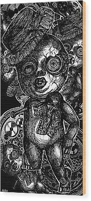 Goth Doll Wood Print by Akiko Okabe