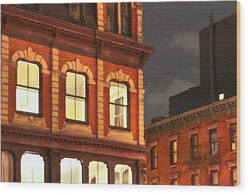 Gotham By Night - New York City Wood Print by Mark E Tisdale