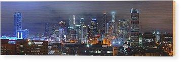 Gotham City - Los Angeles Skyline Downtown At Night Wood Print by Jon Holiday