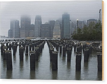 Gotham Mist Wood Print by Michael Murphy
