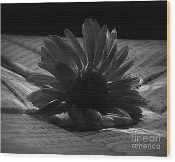 Gothic Birthday Flower Bw Wood Print by Chalet Roome-Rigdon